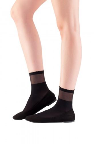Mite Love Soket Çorap Transparan Bilekli Siyah
