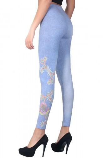 Mite Love Buz Mavi Kadın Tayt Çiçek Baskılı