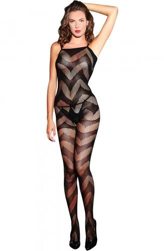 Mite Love Siyah Dalga Desenli Kadın Vücut Çorabı