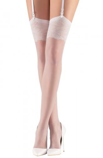 Mite Love Dokuma Dantelli Jartiyer Çorabı Beyaz