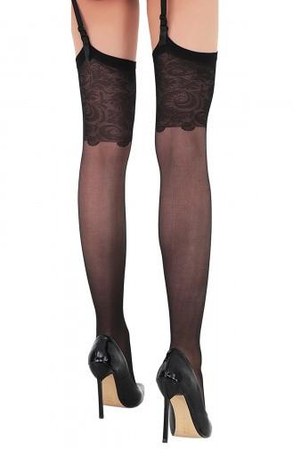 Mite Love Jartiyer Çorabı Bridal Dantelli Siyah
