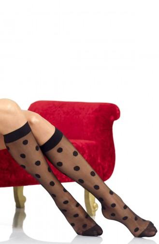 Mite Love Puantiyeli Dizaltı Çorap Siyah