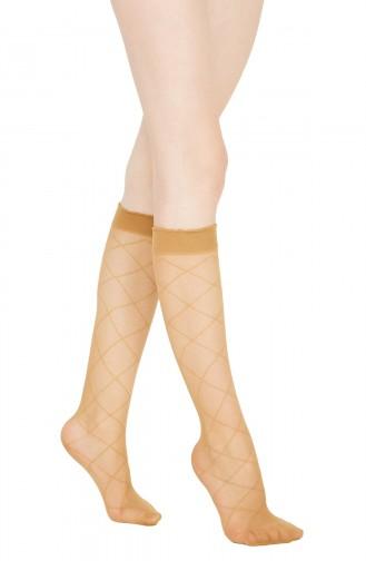 Mite Love Baklava Desen Dizaltı Çorap Ten