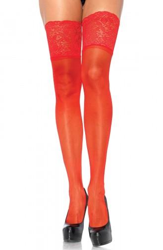 Mite Love Geniş Dantelli Jartiyer Çorabı Kırmızı