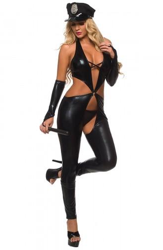 Mite Love Fantazi Polis Kostüm Siyah Deri