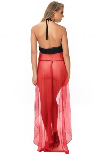 Mite Love File Tül Gecelik Kırmızı Fantazi Giyim