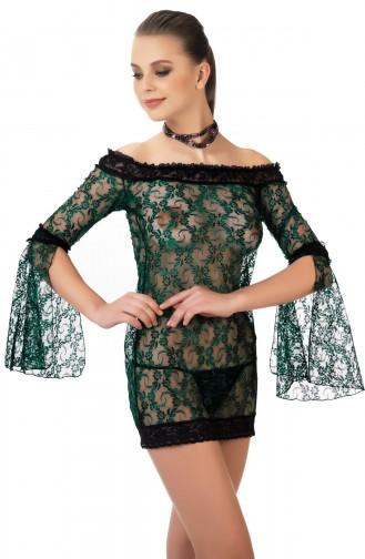 Mite Love Gecelik Lez Dantel Koyu Yeşil Fantazi Giyim