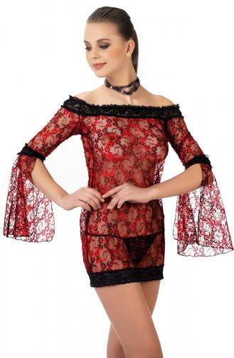 Mite Love Gecelik Lez Dantel Fantazi Giyim Kırmızı