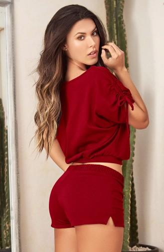 Mite Love Pijama Takım Şortlu Büstiyer Kırmızı