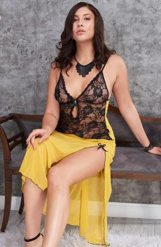 Mite Love Sarı Kadın Gecelik Uzun Yırtmaçlı