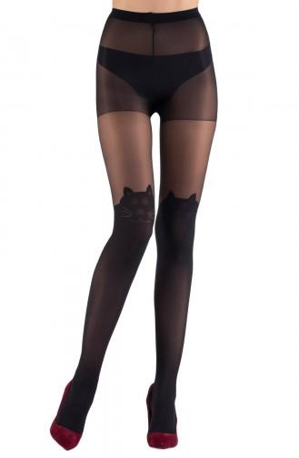 Mite Love Külotlu Çorap Kedi Desenli 15 Denye Siyah