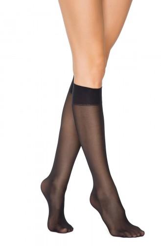 Mite Love Kadın Siyah Opak Yarım Diz Altı ince Çorap