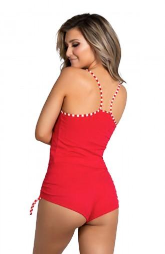 Mite Love Kadın Pijama Şortlu Alt Üst Takım Kırmızı Şeritli