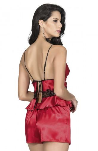 Mite Love Kadın Pijama Şortlu Saten Takım Kırmızı