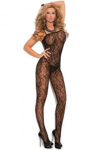Mite Love Gül Desenli Fantazi Vücut Çorabı Siyah