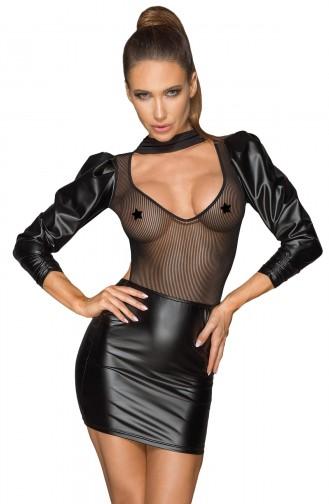 Mite Love Kadın Siyah Deri Transparan Detaylı Fantezi Elbise