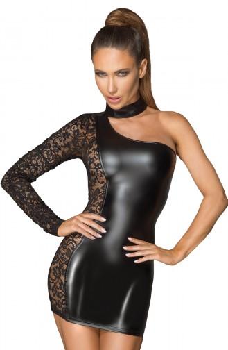 Mite Love Kadın Siyah Dantel Detaylı Tek Omuz Deri Elbise