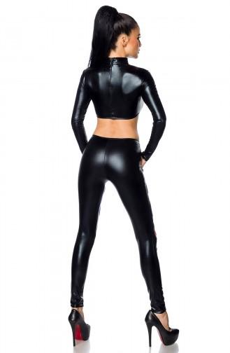 Mite Love Kadın Siyah Deri Lazer Kesim Büstiyer
