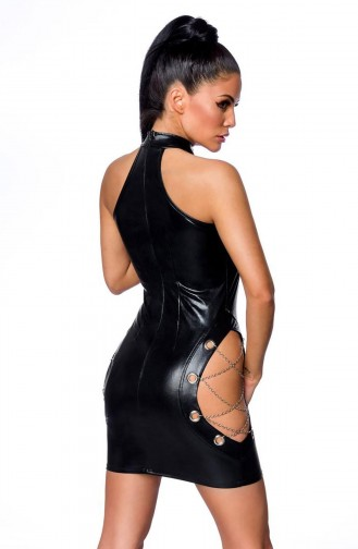 Mite Love Kadın Siyah Deri Zincir Detaylı Fantezi Elbise