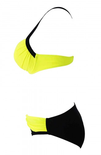 Angelsin Sarı Siyah Şık Bikini Takım