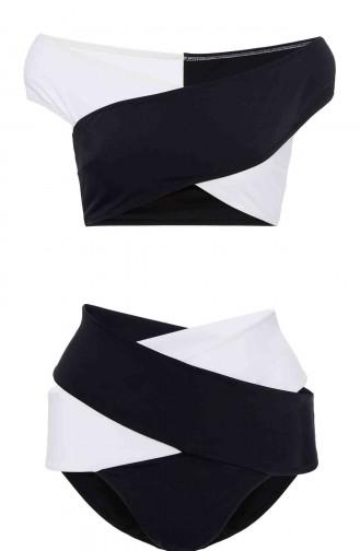 Angelsin Siyah Beyaz Çapraz Bikini Alt