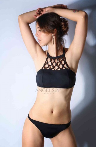 Angelsin Siyah Üstü Örgü Bikini Takım