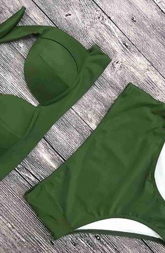 Angelsin Yeşil Yüksek Bel Bikini Alt Yeşil