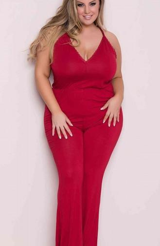 Merry See Büyük Beden Kırmızı Pijama Tulum