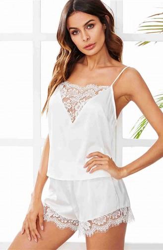 Merry See Dantel İşlemeli Saten Pijama Üst Beyaz