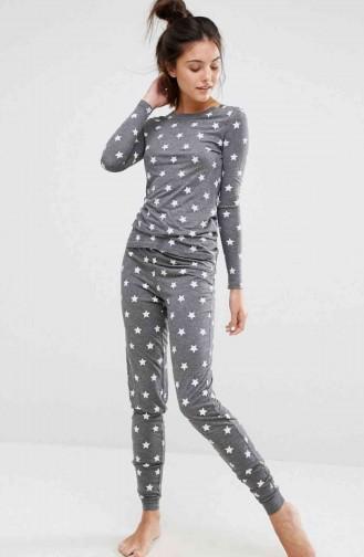 Merry See Gri Yıldız Desenli Şık Pijama Takımı