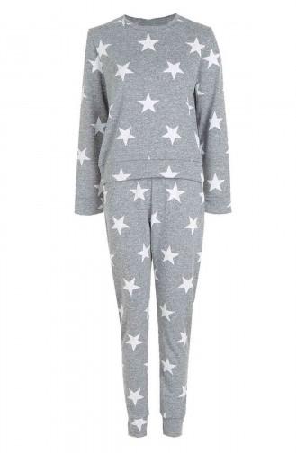Merry See Penye Yıldızlı Eşofman Pijama Takım Çok Renkli