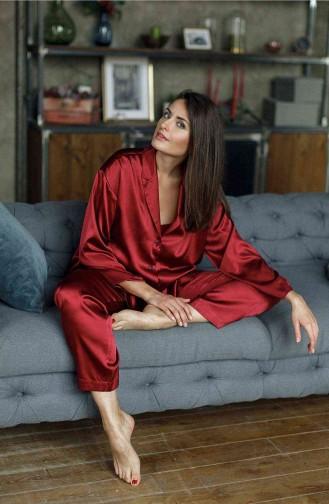 Merry See Saten Pijama Takım Kırmızı